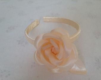 Peach Satin Hairband, Headband Alice Band, Peach Flower hairband, Bridesmaid band, Flower Girl hairband