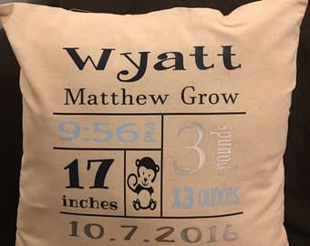 Birth Details Pillow, Personalized Pillow, Birth Anouncement, Baby Pillow