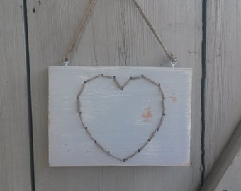 Wooden sign - heart - shabby - grey