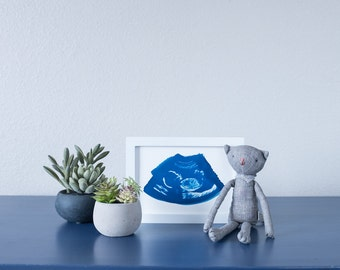 Ultrasound, Sonogram, ORIGINAL Cyanotype Print 5x7