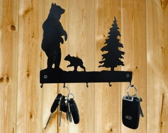 Bear with Cub Key Hanger - Laser Cut