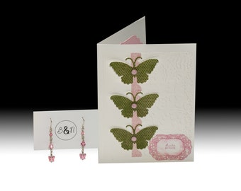 3 Butterflies Thank You Card and Earrings Gift