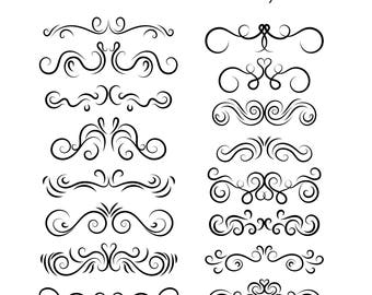 16pcs. Text Dividers photoshop brushes // Hand Drawn Vintage