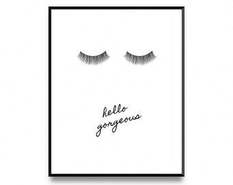 Lashes printable, Lashes wall art, Lashes digital print, Lashes print, Eye lashes print, Eyelashes Poster, Hello Gorgeous, Lashes Print