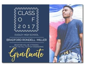 Photo Graduation Announcement - Square | Class of 2017 Graduation Announcement | 2017 Photo Graduation Announcement | HS Graduation Party