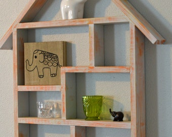 Rustic Wooden House Shaped Shelf