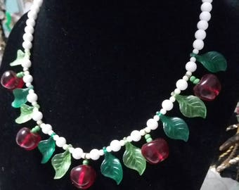 Cherries! Beaded necklace with white milk glass? Beads cherries and leaves