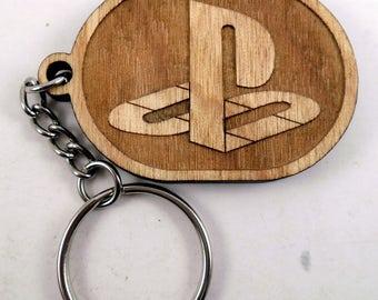Playstation Logo Laser Engraved Wood Keychain