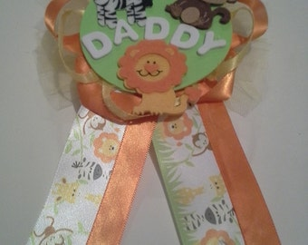 Safari themed baby shower corsages