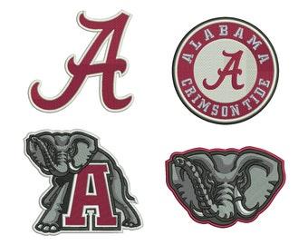 4 Alabama Crimson Tide Emblem Embroidery Design - 5 SIZES