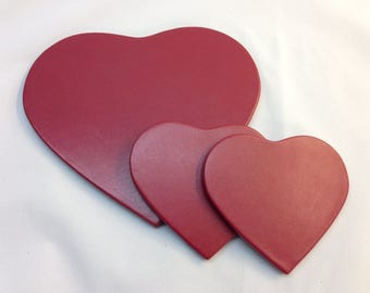 Red Heart Coaster Set in Leather