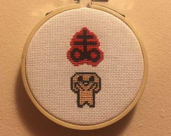 Binding of Isaac inspired cross stitch | 3 inch cross stitch hoop wall hanging | Video game wall art | The Binding of Isaac Brimstone