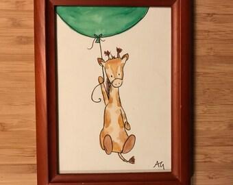 Watercolor Baby Giraffe (Nursery Art)