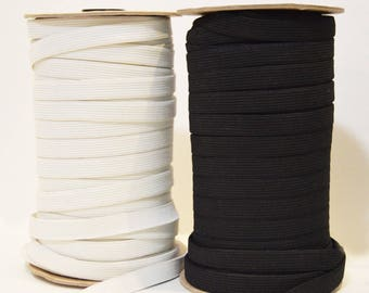 "White or Black 1/2"" Wide Elastic"