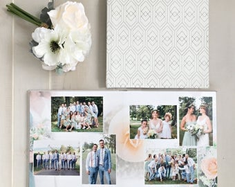 New! 8x8 Etched Leather Cover Custom Designed Wedding Album