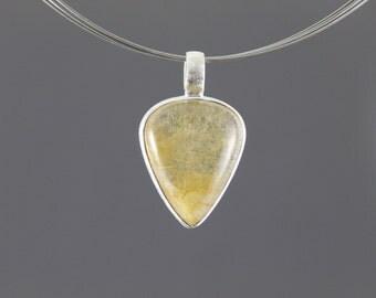 Rutilated quartz pendant sterling silver