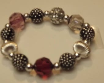 Plum. Black and Silver Bracelet