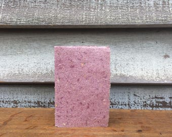 Hand Bound Little Notebook Covered with Purple Handmade Paper