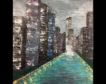 River Walk Chicago City Skyline Trump Hotel Acrylic on Canvas Original Painting