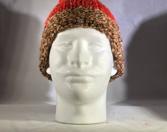 Red hat with brown brim