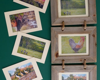 British Countryside Prints - English Countryside - Flower Prints - Framed Bird Prints - Triple Framed Prints - Rural Scenes - Rustic look