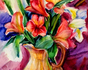 Bright original picture Flower still life wall decor Colorful modern art picture Tropical floral watercolor  PaintingOnlineStore