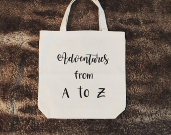 Personalized Tote bag, Adventures from A to Z