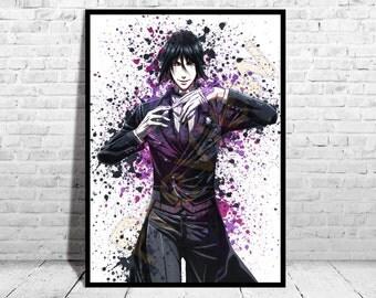 Sebastian Michaelis, Black Butler Anime Poster, Top Quality Poster, Anime Watercolor, Anime Poster, Canvas,Buy any 2 get 3rd FREE,AG77