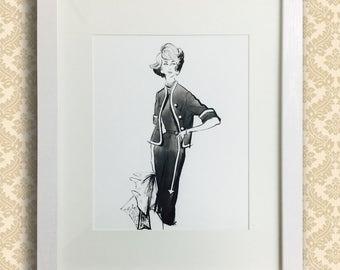 Vintage 1950's New York Fashion Illustration Giclée Print - City Attire
