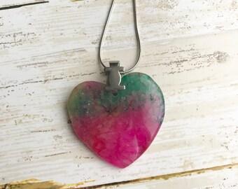 Heart Pendant Druzy Agate