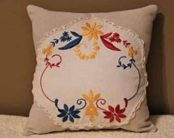 Vintage Doily Appliqued Pillow