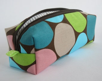 "Pencil case ""Pop"" pencil case cosmetic bag points organic fabric of canvas turquoise Green"