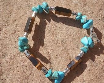 Turquoise and tiger eye bracelet.