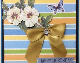Happy Birthday blank flowers in bow card