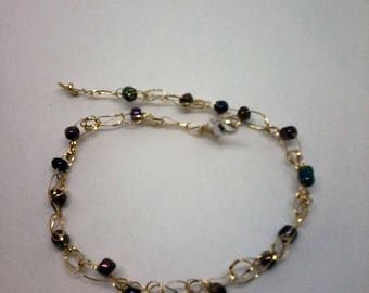 14k gold bracelet with beads   abolone shell colors