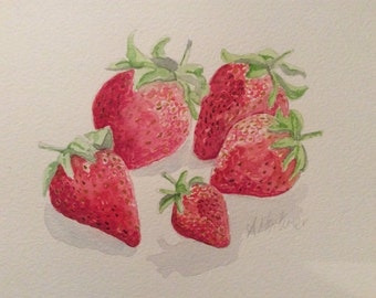 Strawberries watercolour painting
