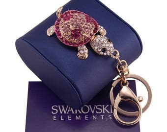 Keyring gold woman Swarovski Elements original G4Love crystaks turtle