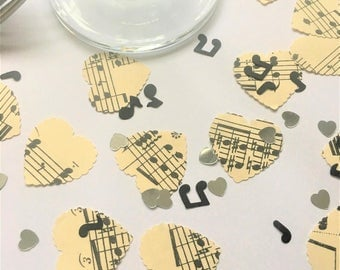 Vintage Sheet Music heart table confetti with notes and silver hearts
