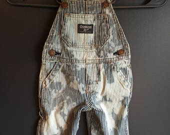 size 6 months, recycled striped kids overall,s bleach dyed, tie dyed effect