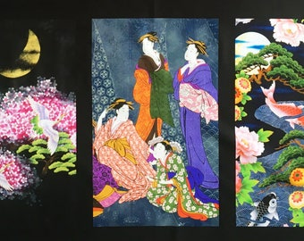 Japanese fabric panels - quilting panels - oriental fabric - Japanese print - geisha fabric - geisha panel