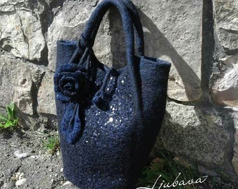 Felted bag Navy blue handbag Felted wool handbag Felted wool purse Handmade bag