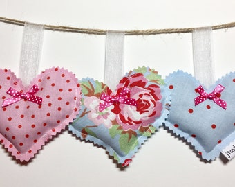 Cath Kidson Floral Lavender Hearts - drawer or wardrobe hanging  scented decorative sachets. 3 fragant cotton fabric hearts - gift for her