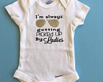 I'm always being picked up by Ladies Onesie //  body suit  // Baby Onesie // Funny Baby shirt // Funny Baby Onesie // Boy onesie //