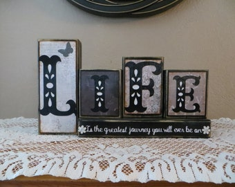 Life Wood Blocks Family Home Journey Home Decor Fireplace Mantel Love