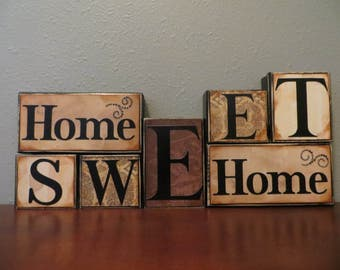 Home Sweet Home Word Blocks Fireplace Family Parents Love Home Decor