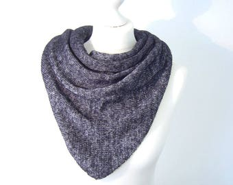 Triangle shawl knit dark grey