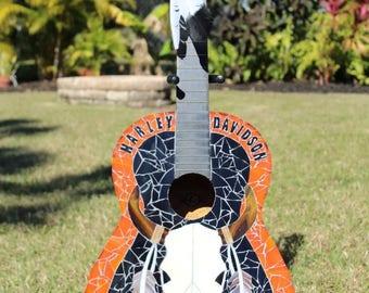 Handmade Harley Davidson Glass Mosaic Guitar Art
