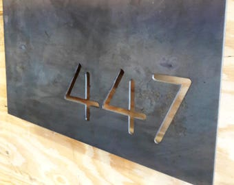 Modern House Sign - Metal House Number Sign - Custom House Sign