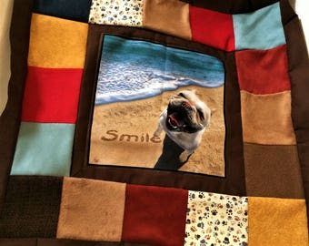 wall hanging with dog print fabric at center, inspirational saying in print