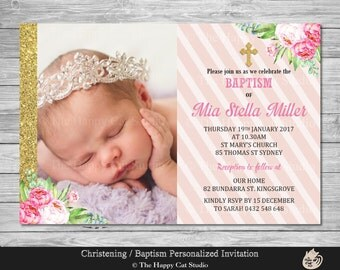 Baptism / Christening Invitation, Personalized, Printable, Digital Print Download, Girl, Pink, Gold, Floral, Cross, Photo Invite, Custom